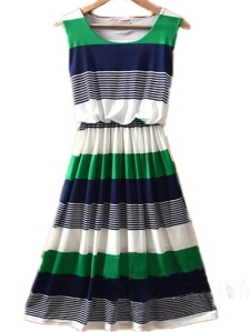 GreenBlueStrippedDress