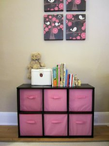 Buy 'n' Brag: pink canvas baskets for L's room
