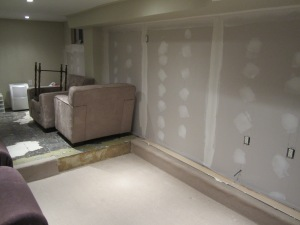 Phase 2 progress: new drywall and part of the carpet is up