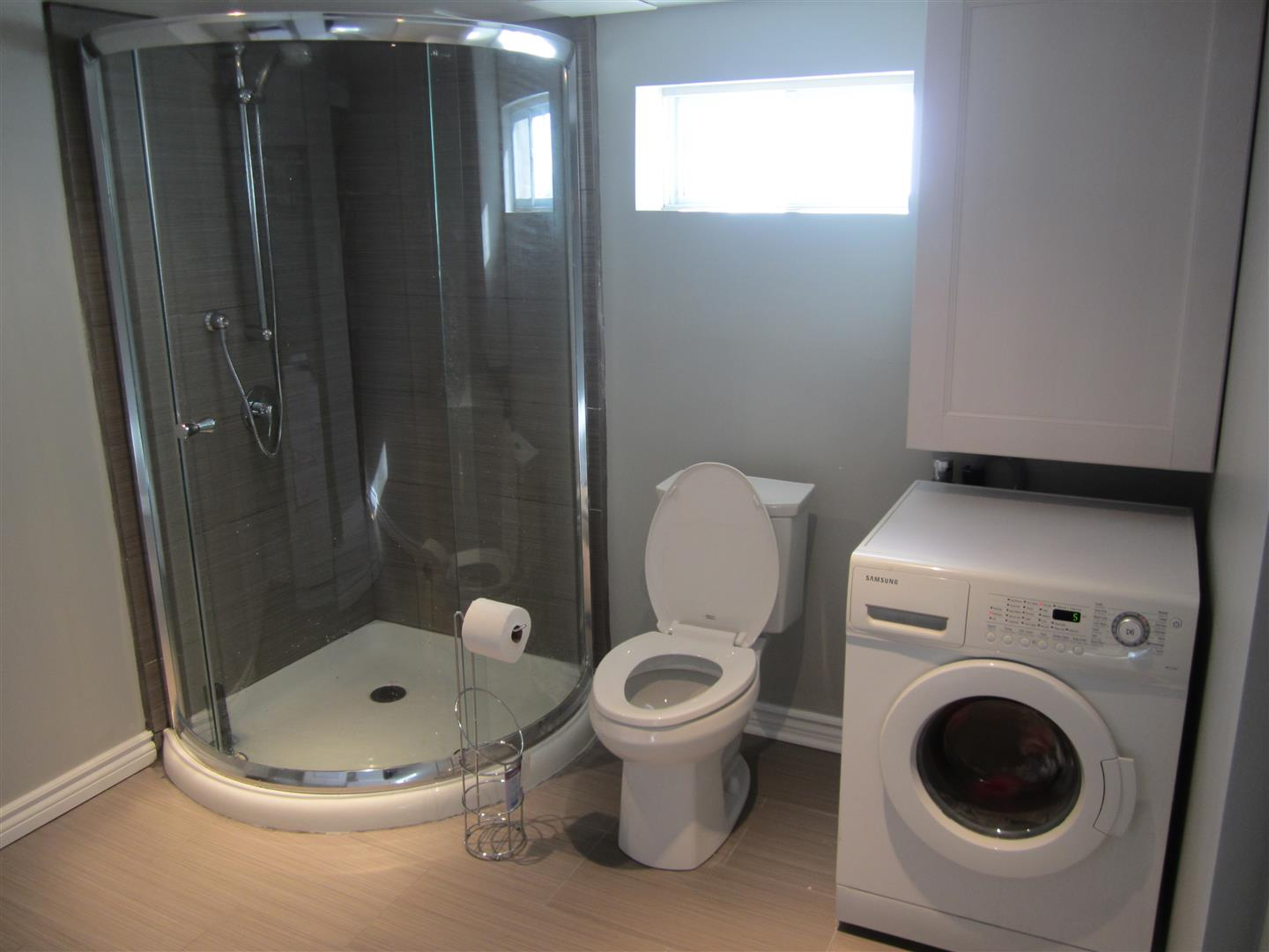 New basement laundry room bathroom reno reveal the elm life for Small bathroom designs with washing machine