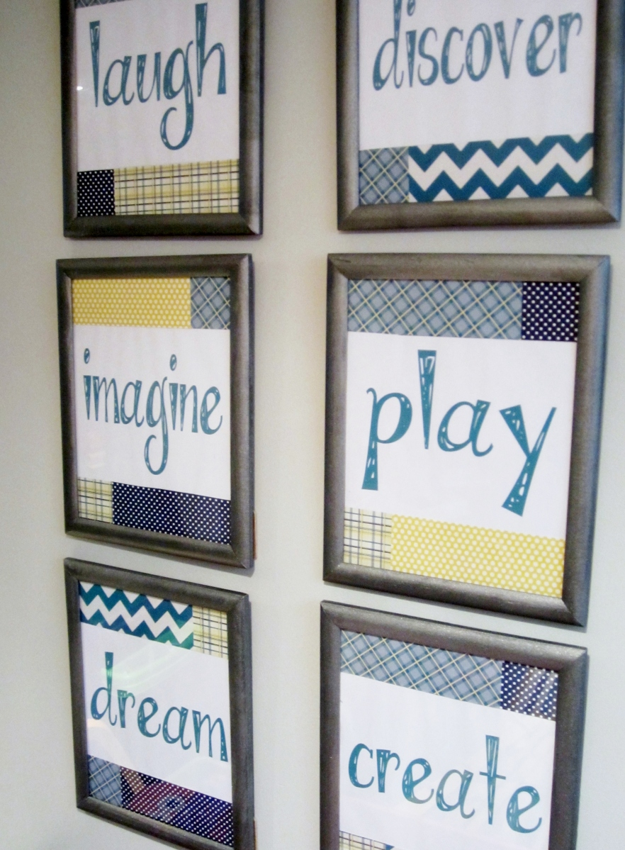DIY Playroom Artwork: Laugh, Discover, Imagine, Play, Dream & Create