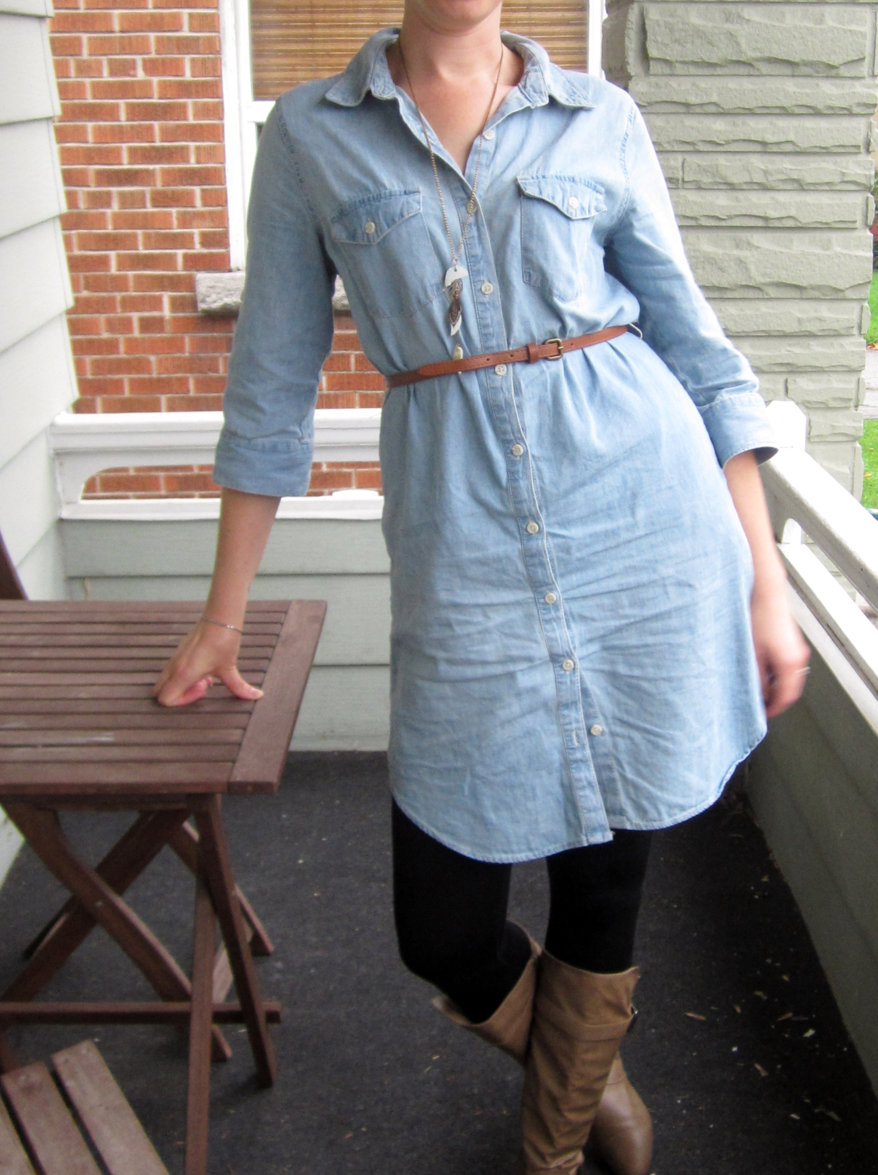 jean dress with boots