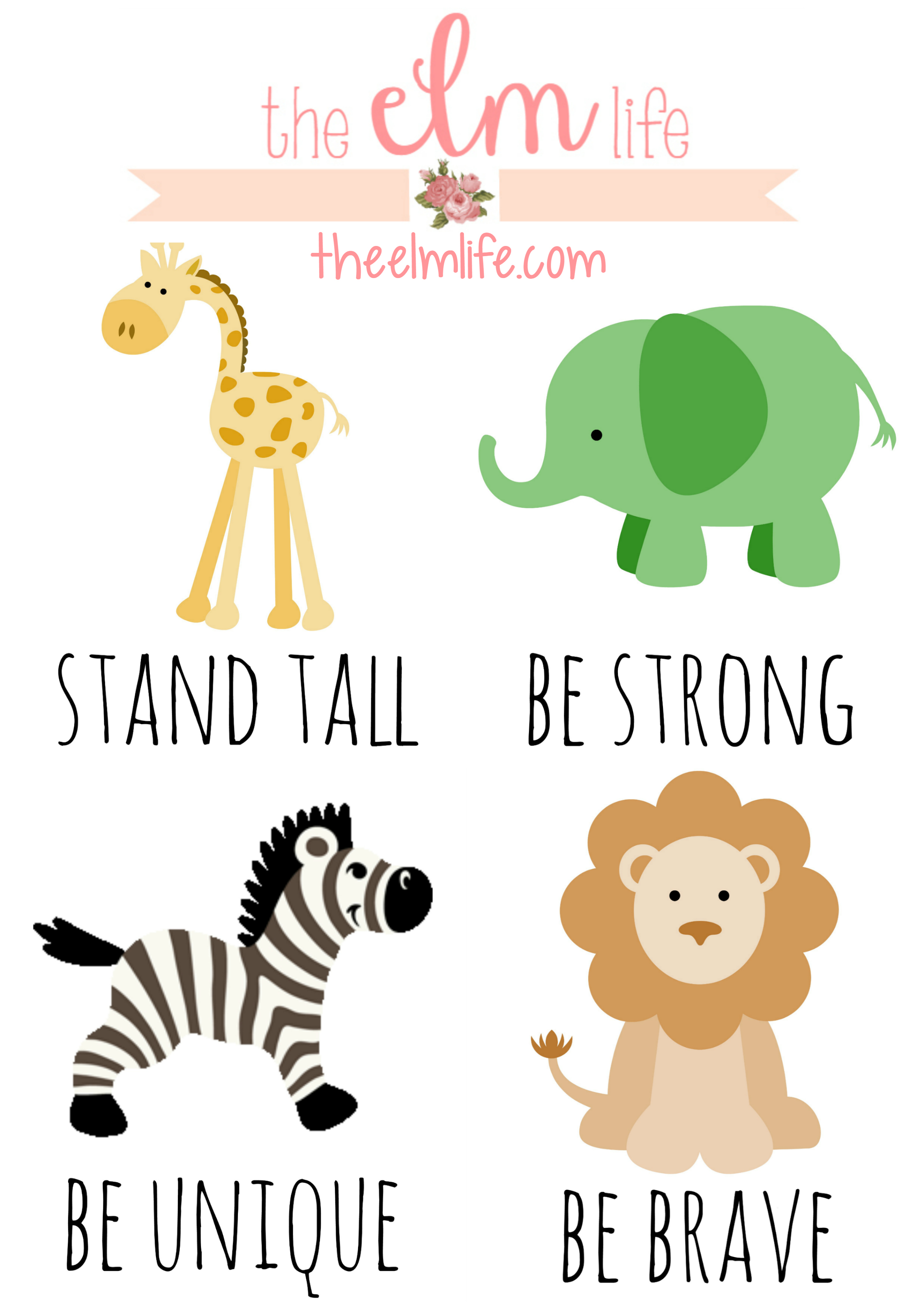 picture relating to Free Printable Nursery Art named Printable Safari-themed Nursery Art The ELM Existence